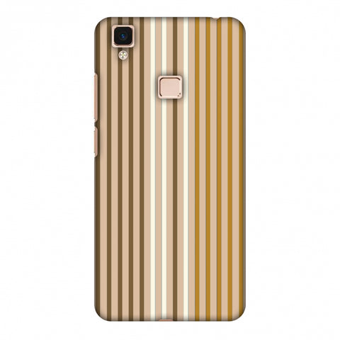 Stripes - Beige And Musrtard Slim Hard Shell Case For Vivo V3 Max