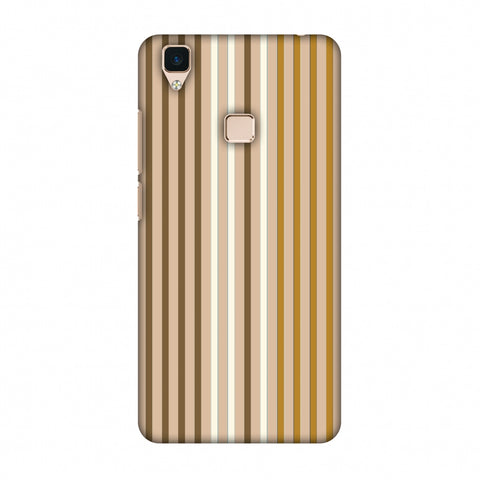 Stripes - Beige And Musrtard Slim Hard Shell Case For Vivo V3