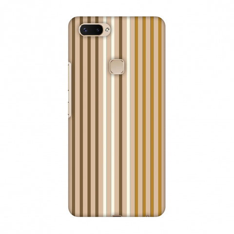 Stripes - Beige And Musrtard Slim Hard Shell Case For Vivo X20 Plus