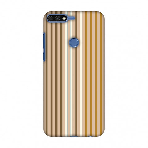Stripes - Beige And Musrtard Slim Hard Shell Case For Huawei Honor 7C