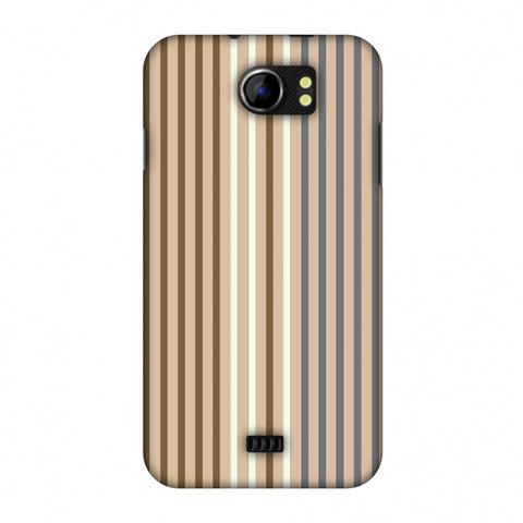 Stripes - Beige And Grey Slim Hard Shell Case For Micromax Canvas 2 A110