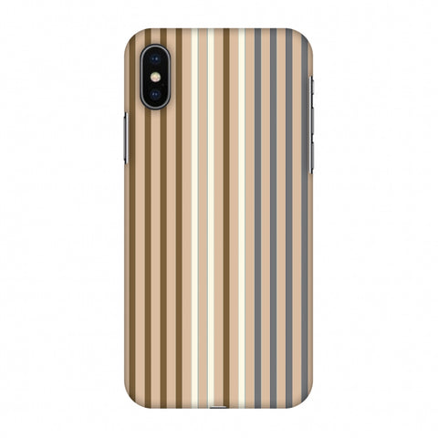 Stripes - Beige And Grey Slim Hard Shell Case For Apple iPhone X