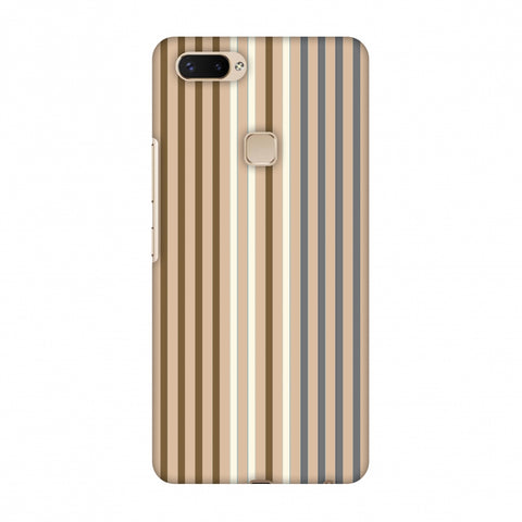 Stripes - Beige And Grey Slim Hard Shell Case For Vivo X20 Plus