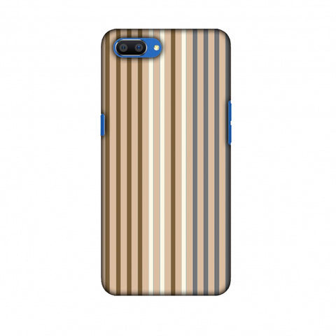 Stripes - Beige And Grey Slim Hard Shell Case For Oppo Realme C1