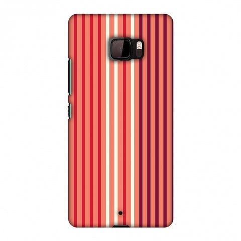 Stripes - Coral And Red Slim Hard Shell Case For HTC U Ultra