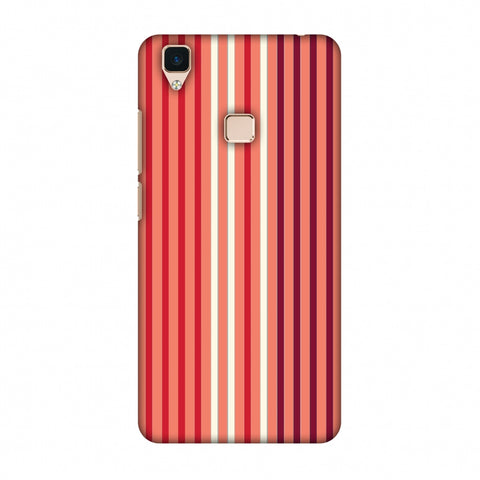 Stripes - Coral And Red Slim Hard Shell Case For Vivo V3