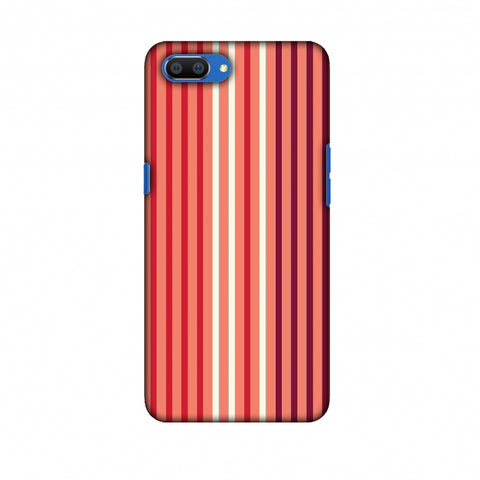 Stripes - Coral And Red Slim Hard Shell Case For Oppo Realme C1