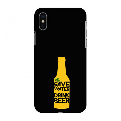 Save Water Drink Beer - Black Slim Hard Shell Case For Apple iPhone X