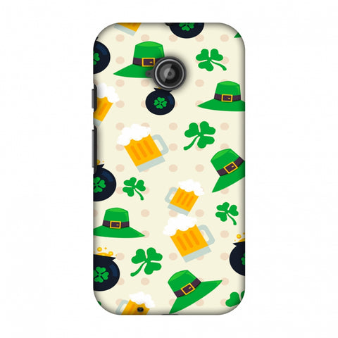 Shamrock, Hats, Beer And Potluck - Green Slim Hard Shell Case For Motorola Moto E 2nd Gen