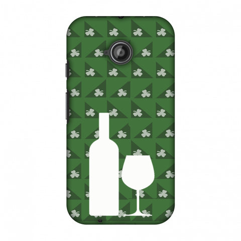 Wine And Pattern With Shemrock - Green Slim Hard Shell Case For Motorola Moto E 2nd Gen