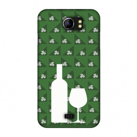 Wine And Pattern With Shemrock - Green Slim Hard Shell Case For Micromax Canvas 2 A110