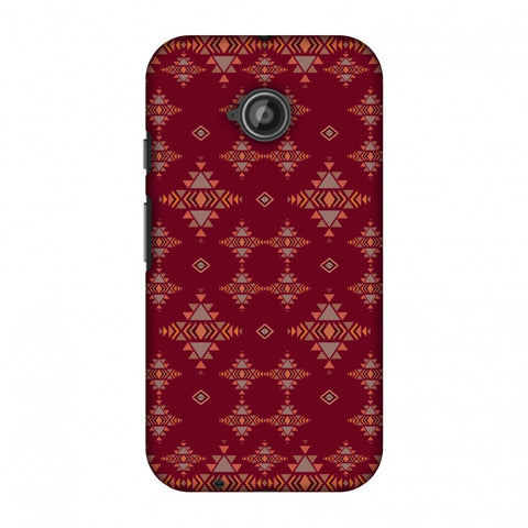 Tribal Tessellations - Burnt Red Slim Hard Shell Case For Motorola Moto E 2nd Gen
