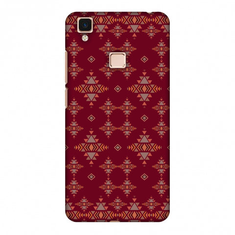 Tribal Tessellations - Burnt Red Slim Hard Shell Case For Vivo V3 Max