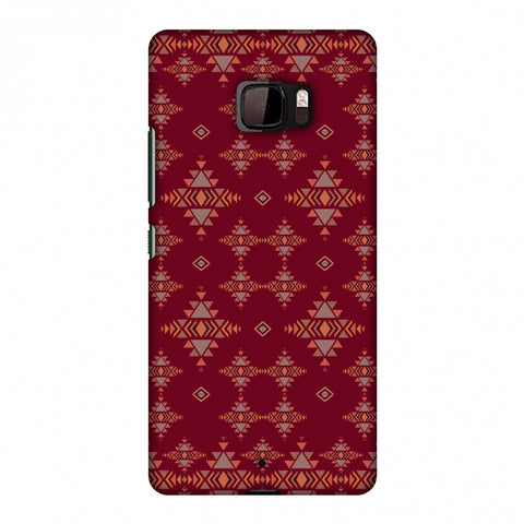 Tribal Tessellations - Burnt Red Slim Hard Shell Case For HTC U Ultra