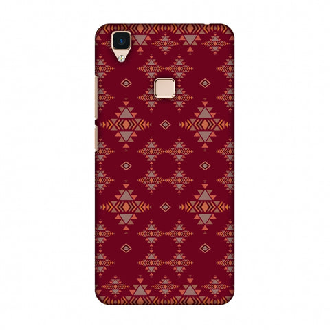 Tribal Tessellations - Burnt Red Slim Hard Shell Case For Vivo V3