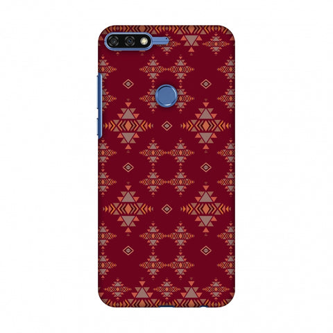 Tribal Tessellations - Burnt Red Slim Hard Shell Case For Huawei Honor 7C