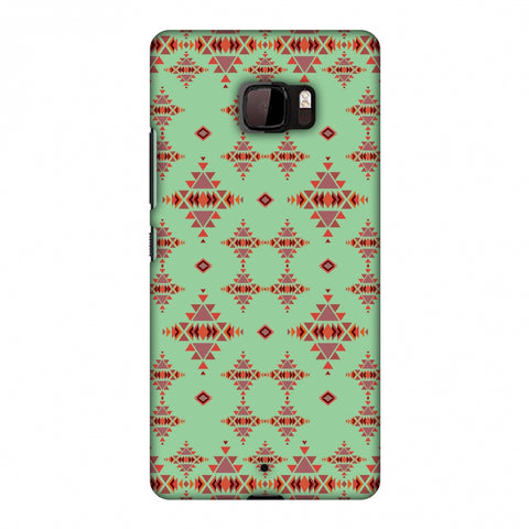 Tribal Tessellations - Coral Blue Slim Hard Shell Case For HTC U Ultra
