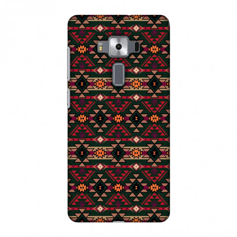 Tribal Tessellations - Forest Green And Fire Red Slim Hard Shell Case For Asus Zenfone 3 Deluxe ZS570KL