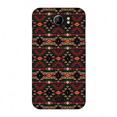 Tribal Tessellations - Forest Green And Fire Red Slim Hard Shell Case For Micromax Canvas 2 A110