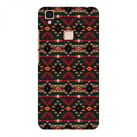 Tribal Tessellations - Forest Green And Fire Red Slim Hard Shell Case For Vivo V3 Max