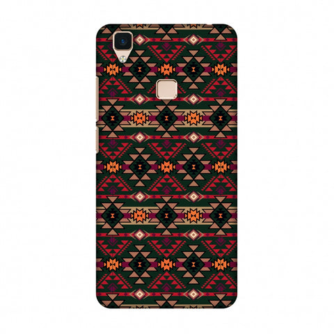 Tribal Tessellations - Forest Green And Fire Red Slim Hard Shell Case For Vivo V3