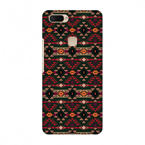 Tribal Tessellations - Forest Green And Fire Red Slim Hard Shell Case For Vivo X20 Plus