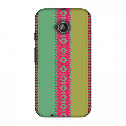Tribal Patterns And Solids - Aquamarine And Awesome Pink Slim Hard Shell Case For Motorola Moto E 2nd Gen
