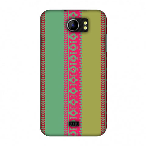 Tribal Patterns And Solids - Aquamarine And Awesome Pink Slim Hard Shell Case For Micromax Canvas 2 A110