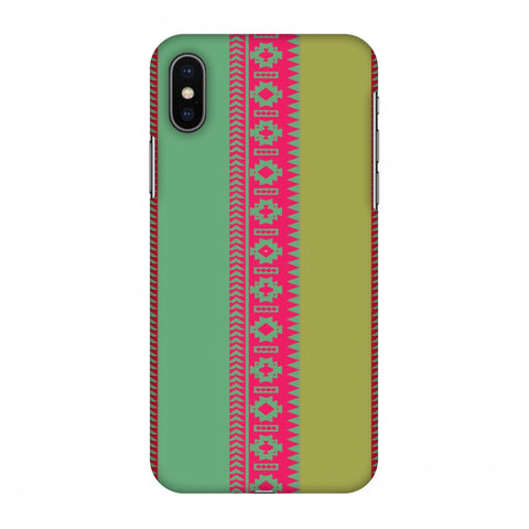 Tribal Patterns And Solids - Aquamarine And Awesome Pink Slim Hard Shell Case For Apple iPhone X