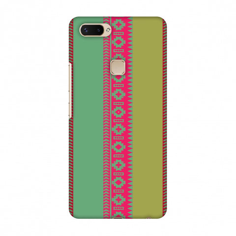 Tribal Patterns And Solids - Aquamarine And Awesome Pink Slim Hard Shell Case For Vivo X20 Plus