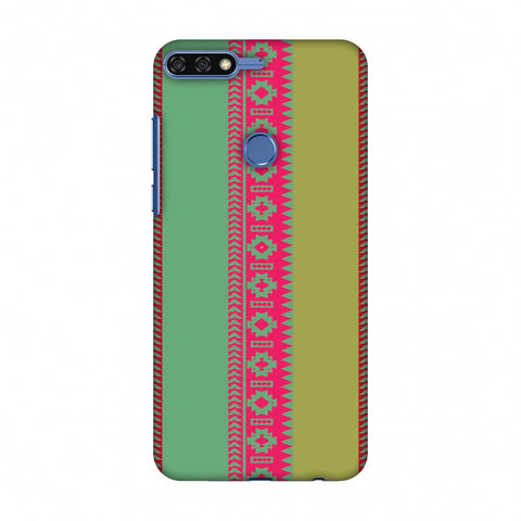 Tribal Patterns And Solids - Aquamarine And Awesome Pink Slim Hard Shell Case For Huawei Honor 7C