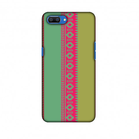 Tribal Patterns And Solids - Aquamarine And Awesome Pink Slim Hard Shell Case For Oppo Realme C1