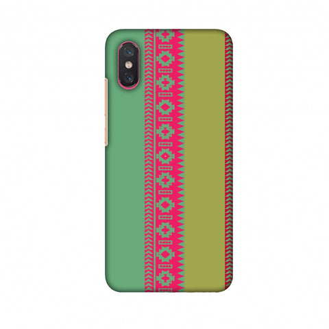 Tribal Patterns And Solids - Aquamarine And Awesome Pink Slim Hard Shell Case For Xiaomi Mi 8 Pro