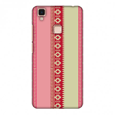 Tribal Patterns And Solids - Beige And Flamingo Pink Slim Hard Shell Case For Vivo V3 Max