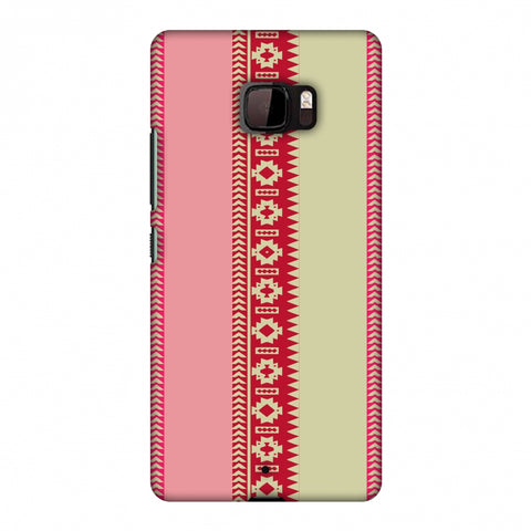 Tribal Patterns And Solids - Beige And Flamingo Pink Slim Hard Shell Case For HTC U Ultra