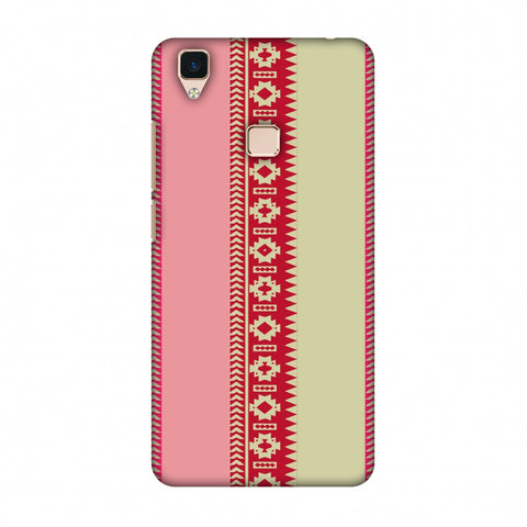 Tribal Patterns And Solids - Beige And Flamingo Pink Slim Hard Shell Case For Vivo V3