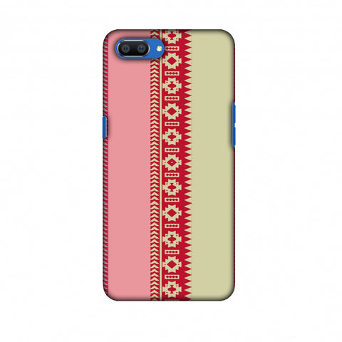 Tribal Patterns And Solids - Beige And Flamingo Pink Slim Hard Shell Case For Oppo Realme C1