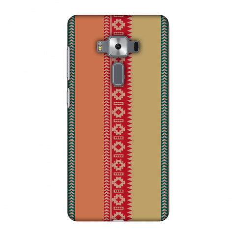 Tribal Patterns And Solids - Teal And Brick Red Slim Hard Shell Case For Asus Zenfone 3 Deluxe ZS570KL