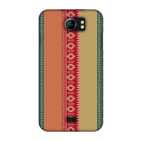 Tribal Patterns And Solids - Teal And Brick Red Slim Hard Shell Case For Micromax Canvas 2 A110