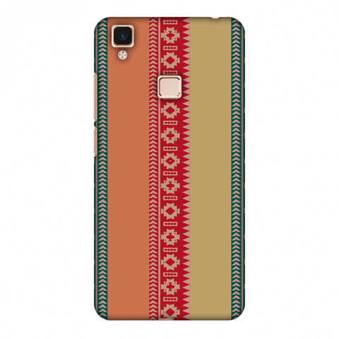 Tribal Patterns And Solids - Teal And Brick Red Slim Hard Shell Case For Vivo V3 Max