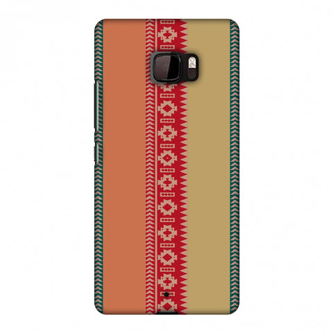 Tribal Patterns And Solids - Teal And Brick Red Slim Hard Shell Case For HTC U Ultra