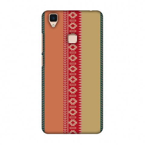 Tribal Patterns And Solids - Teal And Brick Red Slim Hard Shell Case For Vivo V3