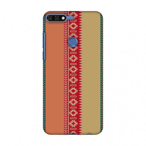 Tribal Patterns And Solids - Teal And Brick Red Slim Hard Shell Case For Huawei Honor 7C