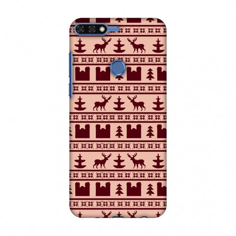 Reindeer Repeats - Bulgarian Rose Slim Hard Shell Case For Huawei Honor 7C