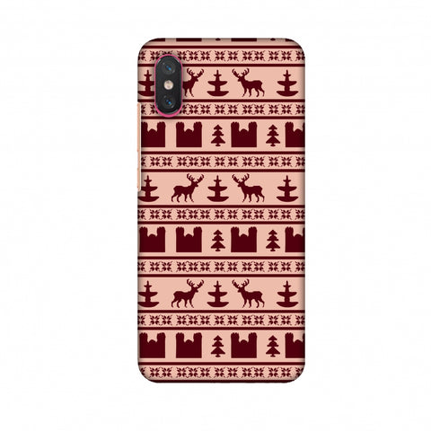 Reindeer Repeats - Bulgarian Rose Slim Hard Shell Case For Xiaomi Mi 8 Pro