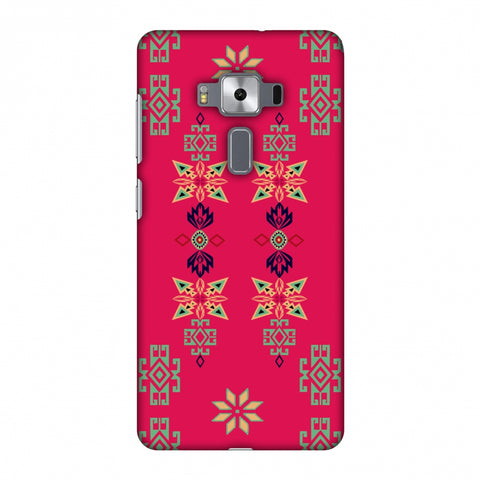 Tribal Motif Placement - Hot Pink And Bright Teal Slim Hard Shell Case For Asus Zenfone 3 Deluxe ZS570KL