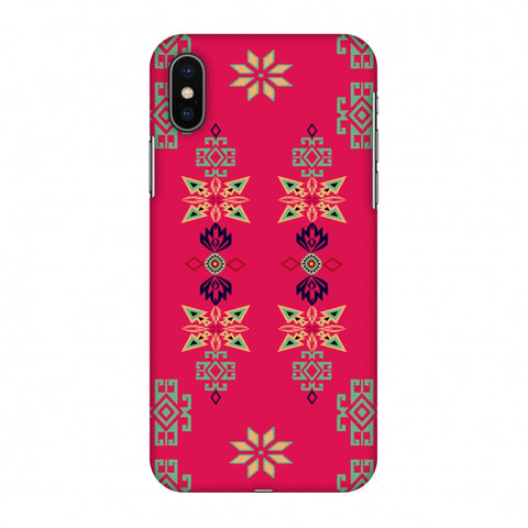 Tribal Motif Placement - Hot Pink And Bright Teal Slim Hard Shell Case For Apple iPhone X