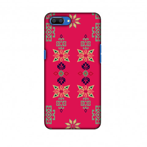 Tribal Motif Placement - Hot Pink And Bright Teal Slim Hard Shell Case For Oppo Realme C1