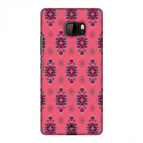 Tribal Florals - Bright Pink Slim Hard Shell Case For HTC U Ultra