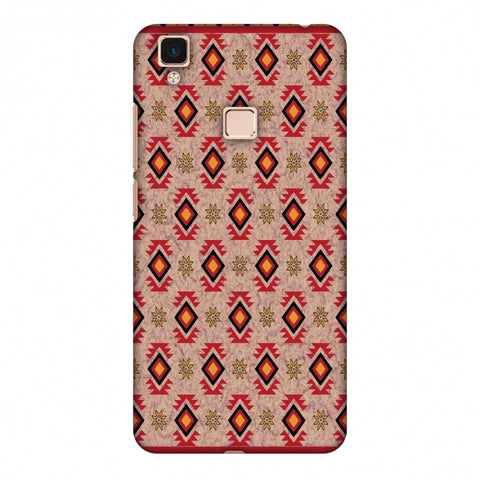 Cool Tribals - Bright Red And Sunflower Yellow Slim Hard Shell Case For Vivo V3 Max